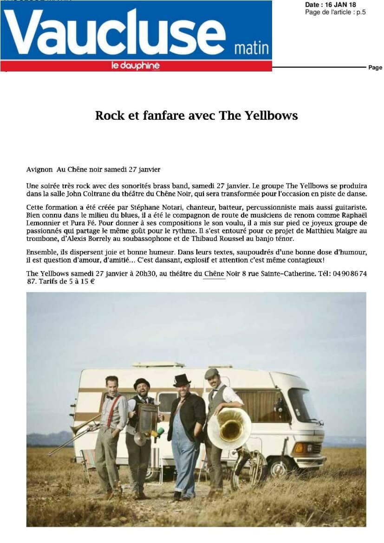 Article presse Vaucluse matin - janvier 2018