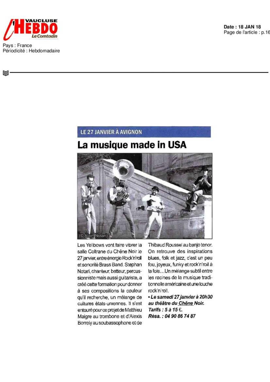 Article presse Vaucluse Hebdo-janvier 2018
